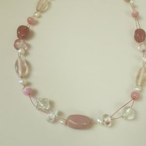 Lia Sophia glass beaded and wire necklace in pinks